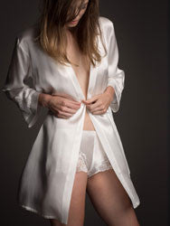 Morgan Iconic Short Silk Robe in Ivory