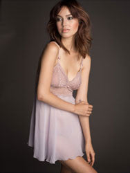 Rebecca Flirty Silk Babydoll Set in Lovely Lavender