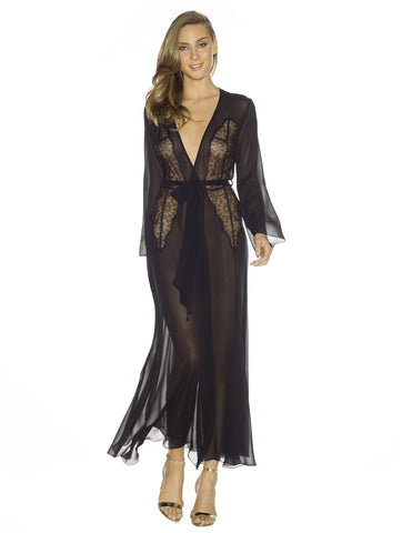 Black silk Long Robes - Gilda Illusion Long Peignoir in Black