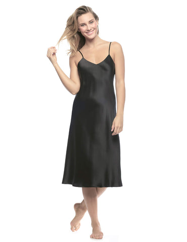 Black silk Gowns - Corazon Midi Slip Du Jour in Black