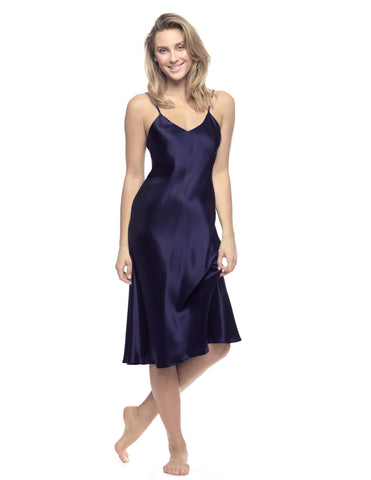 Blue silk Gowns - Corazon Midi Slip Du Jour in Evening Blue
