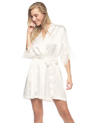 Ivory silk Short Robes - Jezebel High-Spirit Short Kimono in Ivory