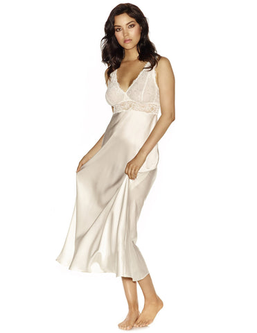 Ivory silk Gowns - Morgan Iconic Bust-Support Long Silk Gown in Ivory