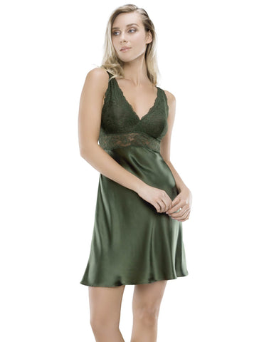Green silk Chemises - Morgan Iconic Bust-Support Silk Chemise in Ivy