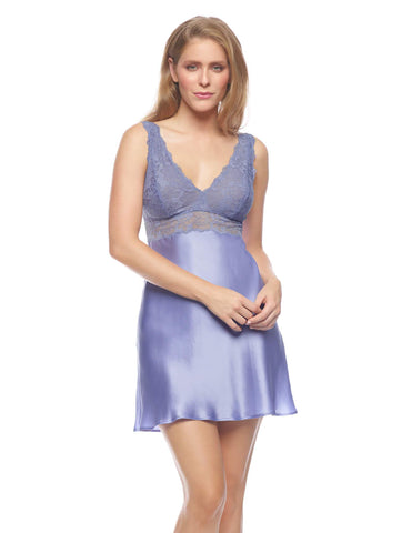 Purple silk Chemises - Morgan Iconic Bust-Support Silk Chemise in Periwinkle