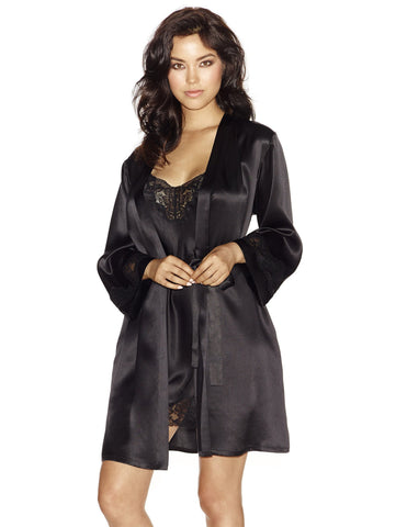 Black silk Short Robes - Morgan Iconic Short Silk Robe in Black