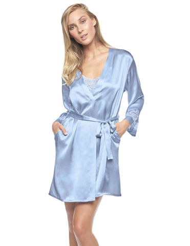 Blue silk Short Robes - Morgan Iconic Short Silk Robe in Blue Mist