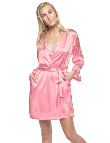 Pink silk Short Robes - Morgan Iconic Short Silk Robe in Cherry Blossom