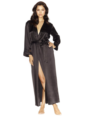Black silk Long Robes - Morgan Long Silk Robe in Black
