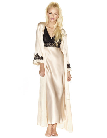 Champagne silk Long Robes - Morgan Long Silk Robe in Champagne