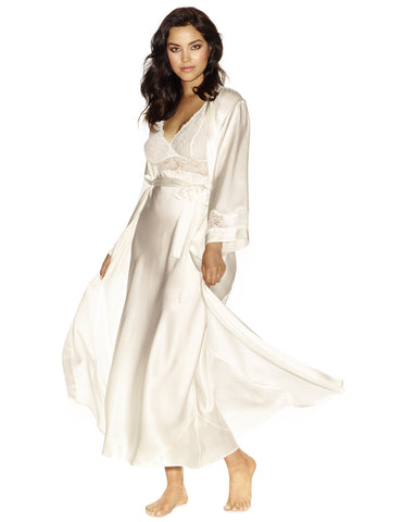 Ivory silk Long Robes - Morgan Long Silk Robe in Ivory