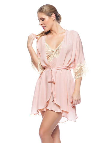 Pink silk Short Robes - Paloma Dreamy Short Robe in Blush