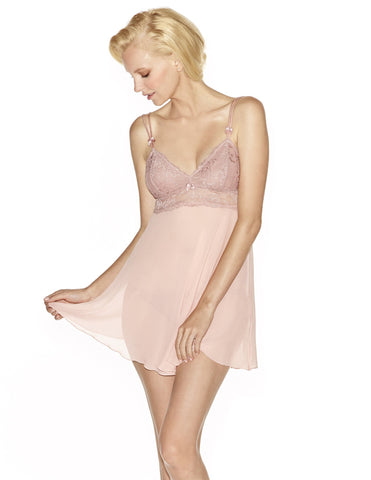 Pink silk Chemises - Rebecca Flirty Silk Chemise Set in Retro Rose