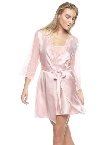 Pink silk Short Robes - Vivien Divine Short Robe in Powder Pink