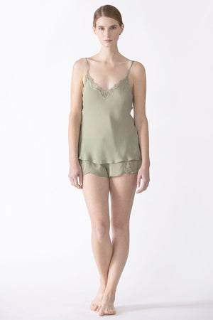 Dahlia Bliss Lace Silk Camisole Camisole NK iMODE tea green S