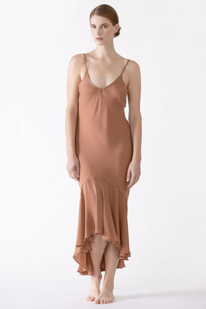 Dahlia Flutter Silk Midi Dress Long Gown NK iMODE sandstorm brown S