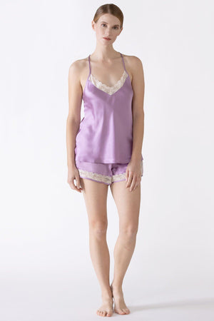 Gardenia T-Back Lace Silk Camisole Camisole NK iMODE dusty-lavender purple S