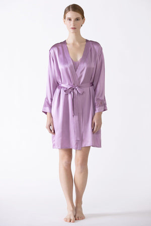 Morgan Iconic Short Silk Robe Short Robe NK iMODE dusty-lavender purple S
