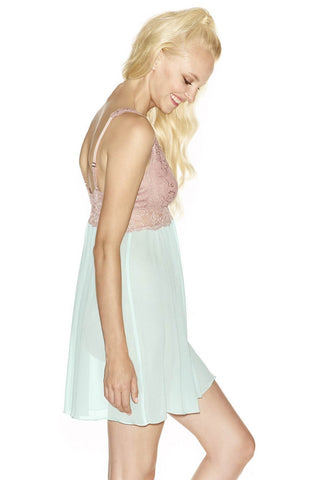 Model wearing Rebecca Bust-Support Gossamer blue silk Chemise in ballad-blue