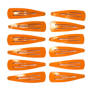Mia® Snip Snaps® - metal barrettes - orange color - 12 shown out of packaging - #MiaKaminski #Mia #MiaBeauty #beauty #hair #lovethis #love #life #woman #HairAccessories #hairclips #hairbarrettes #barrette #cheer #dance #schooluniform