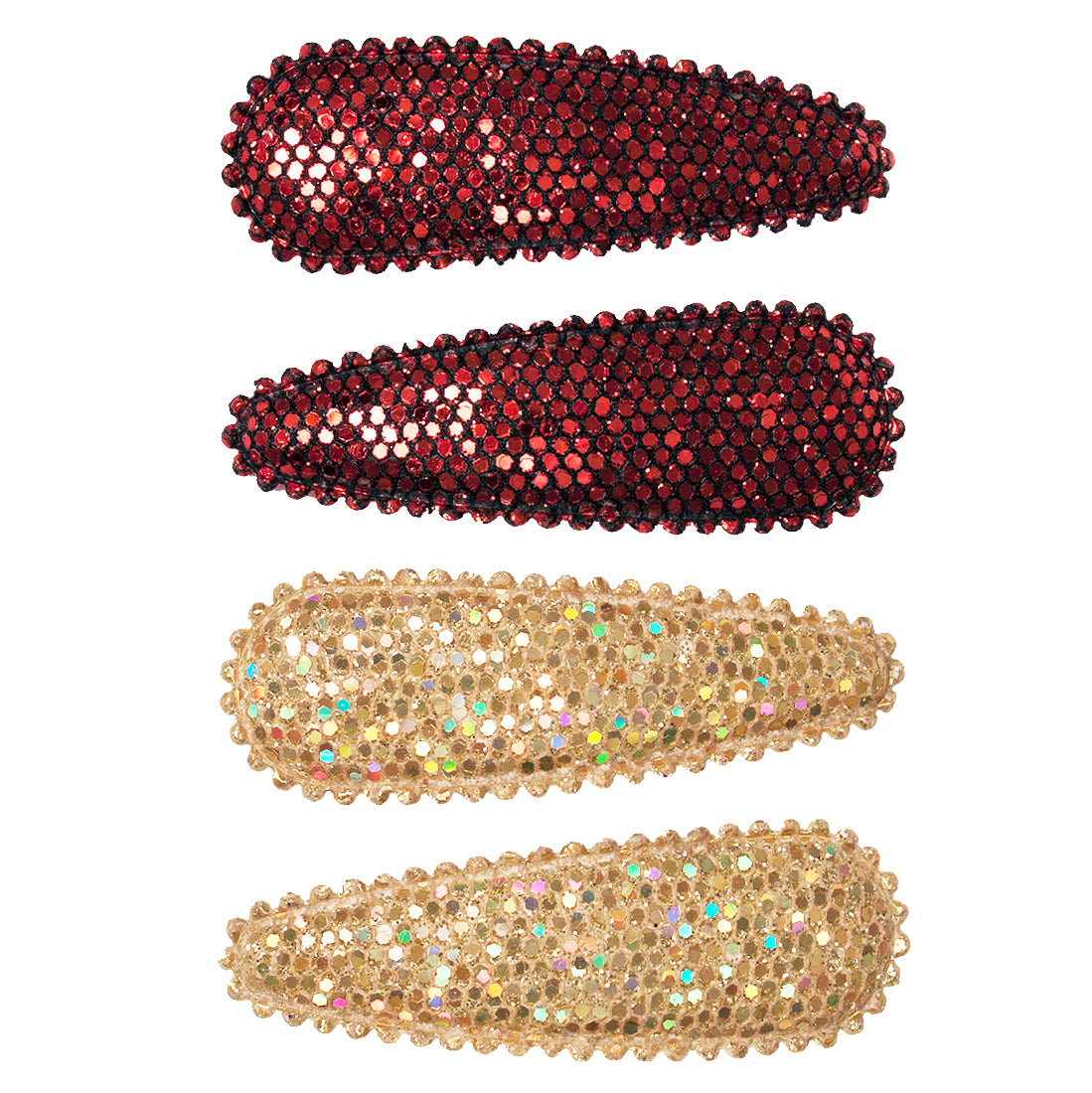 Mia® Snip Snaps® - hair barrettes in metallic material - maroon and gold colors - by Mia Kaminski
