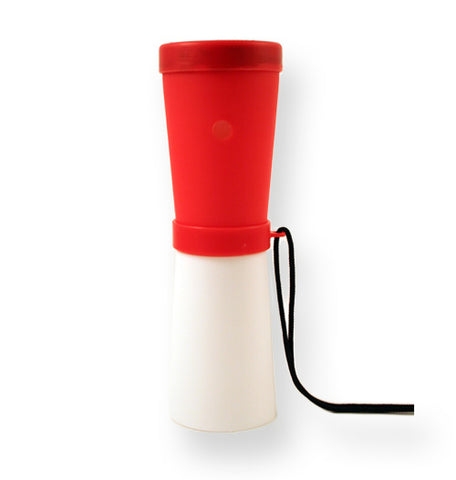 LiveGreek® Storus® SuperHorn breathe powered horn - red and white color - invented by #ScottKaminski #LiveGreek #MiaKaminski #Panhellenic #sororitysupplies #bigsislilsis #students #college #rush #graduationgifts #sororityhouse #fraternal #fraternity #superhorn #noisemaker #safetydevice