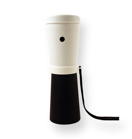 LiveGreek® Storus® SuperHorn breathe powered horn -white and black color - invented by #ScottKaminski #LiveGreek #MiaKaminski #Panhellenic #sororitysupplies #bigsislilsis #students #college #rush #graduationgifts #sororityhouse #fraternal #fraternity #superhorn #noisemaker #safetydevice