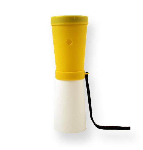 LiveGreek® Storus® SuperHorn breathe powered horn - yellow and white color - invented by #ScottKaminski #LiveGreek #MiaKaminski #Panhellenic #sororitysupplies #bigsislilsis #students #college #rush #graduationgifts #sororityhouse #fraternal #fraternity #superhorn #noisemaker #safetydevice