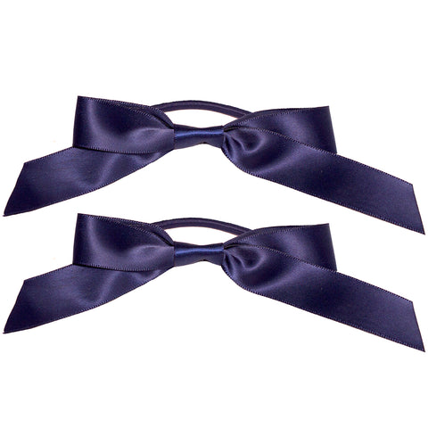 Mia® Spirit Satin Ribbon Bow Ponytailer Set - hair accessories - navy blue color - designed by #MiaKaminski of Mia Beauty