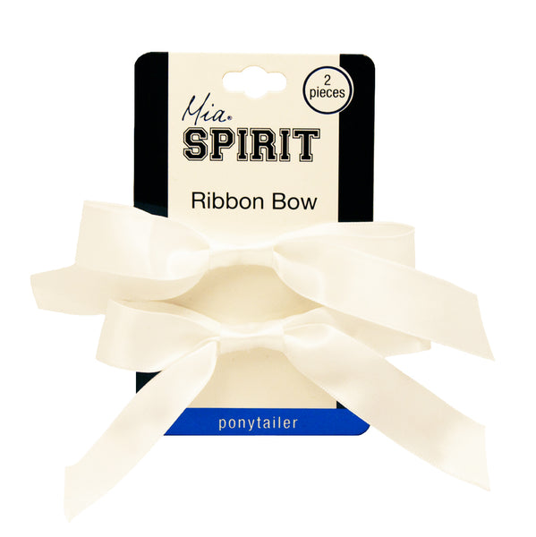 Mia® Spirit Satin Ribbon Bow Ponytailer Set - hair accessories - white color - designed by #MiaKaminski of Mia Beauty
