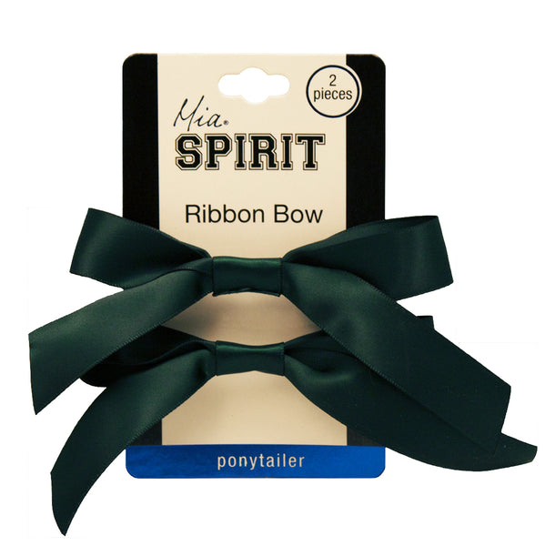 Mia® Spirit Satin Ribbon Bow Ponytailer Set - hair accessories - dark green color -  shown on packaging