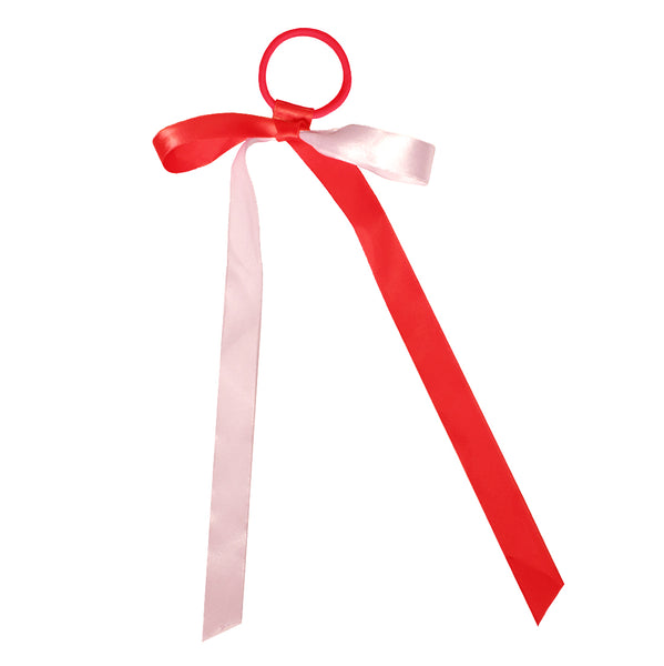 Mia® Spirit Satin Ribbon Ponytailer hair accessory - red and white - shown tied in a bow - designed by #MiaKaminski of Mia Beauty
