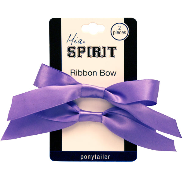 Mia® Spirit Satin Ribbon Bow Ponytailer Set - hair accessories - purple color - shown on packaging