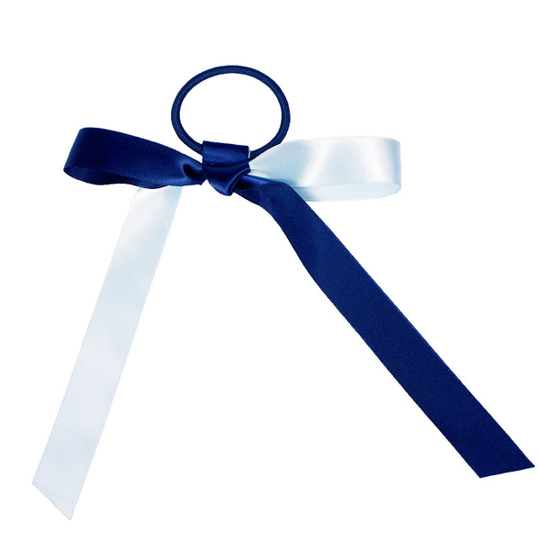 Mia® Spirit Satin Ribbon Ponytailer hair accessory - navy blue and light blue - shown tied in a bow - designed by #MiaKaminski of Mia Beauty