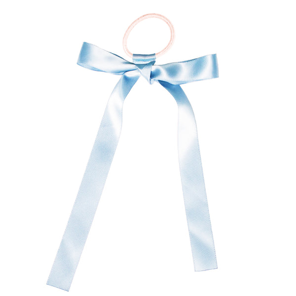 Mia® Spirit Satin Ribbon Ponytailer hair accessory - light blue and light blue - shown tied in a bow - designed by #MiaKaminski of Mia Beauty