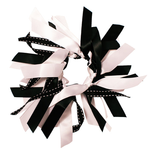 LiveGreek™ Mia® Spirit - Ribbon Cluster Ponywrap - black and white color - #MiaKaminski #Mia #MiaBeauty #beauty #hair #lovethis #love #life #woman #HairAccessories #ponytailholder #ribbonhairtie #cheer #dance