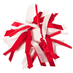 Ribbon Cluster Ponytailer - Red/White