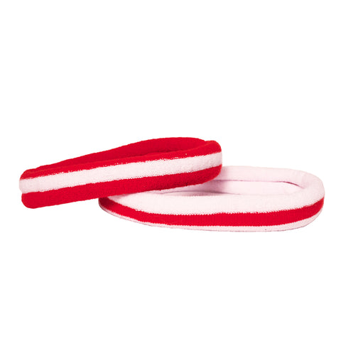 Mia Sport Spirit Terrycloth Headbands for soccer in red and white stripes color