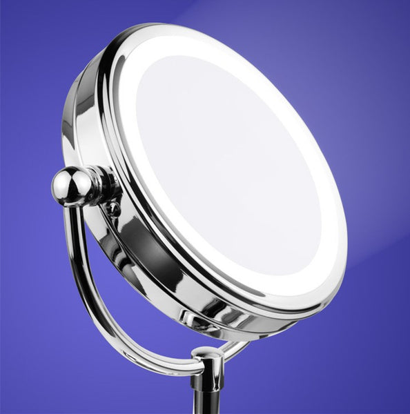 Mia Beauty 10x/1x LED Lighted Mirror - close up of LED lights in the dark