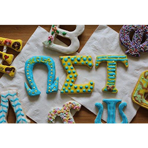 LiveGreek® Greek Alphabet Cookie Cutters - decorated cookies - #LiveGreek #ScottKaminski #MiaKaminski #Panhellenic #sororitysupplies #bigsislilsis #students #college #rush #graduationgifts #sororityhouse #fraternal #fraternity #cookiecutters #artstencil #GreekAlphabet