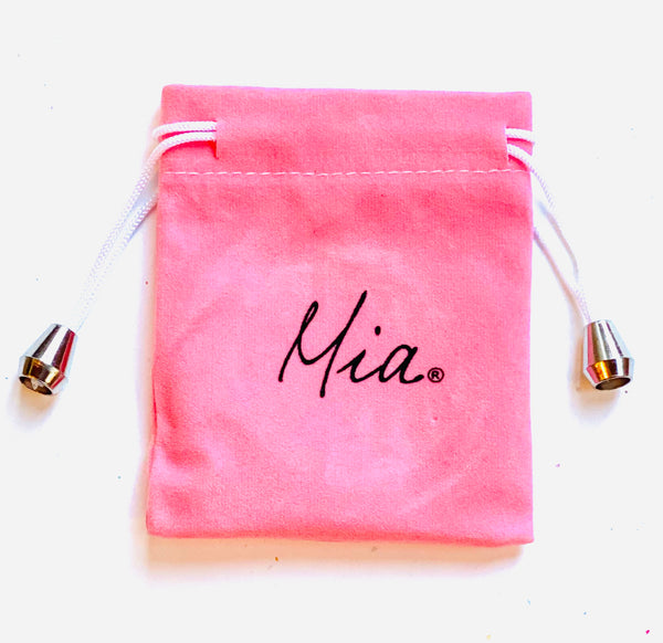 Mia Beauty Jeweled Compact mirror pink drawstring storage pouch