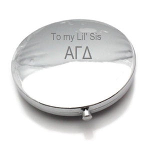 LiveGreek Jeweled Compact mirror - back side shown engraved with To my Lil' Sis - #LiveGreek #ScottKaminski #MiaKaminski #Panhellenic #sororitysupplies #bigsislilsis #students #college #rush #graduationgifts #sororityhouse #fraternal #fraternity