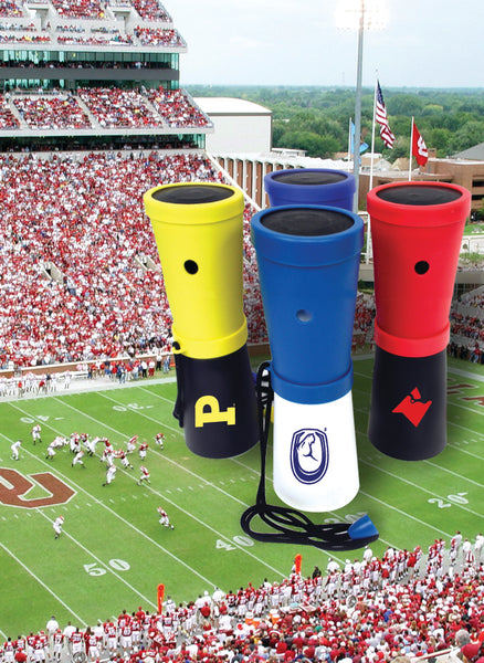 LiveGreek® Storus® SuperHorn breathe powered horn - group shot with football field backdrop - invented by #ScottKaminski #LiveGreek #MiaKaminski #Panhellenic #sororitysupplies #bigsislilsis #students #college #rush #graduationgifts #sororityhouse #fraternal #fraternity #superhorn #noisemaker #safetydevice