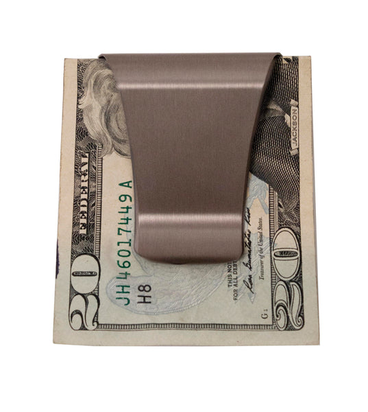 LiveGreek® Storus® Smart Money Clip® - Brushed Stainless Steel finish - clip side shown with a $20 bill inside - invented #ScottKaminski #Storus #Man #MensAccessories #Wallets #MoneyClips #storagesolutions #organization #lovethis #life #swag #slimclip
