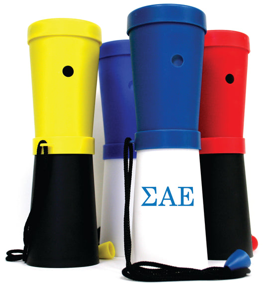 LiveGreek® Storus® SuperHorn breathe powered horn - group shot with one shown printed - invented by #ScottKaminski #LiveGreek #MiaKaminski #Panhellenic #sororitysupplies #bigsislilsis #students #college #rush #graduationgifts #sororityhouse #fraternal #fraternity #superhorn #noisemaker #safetydevice