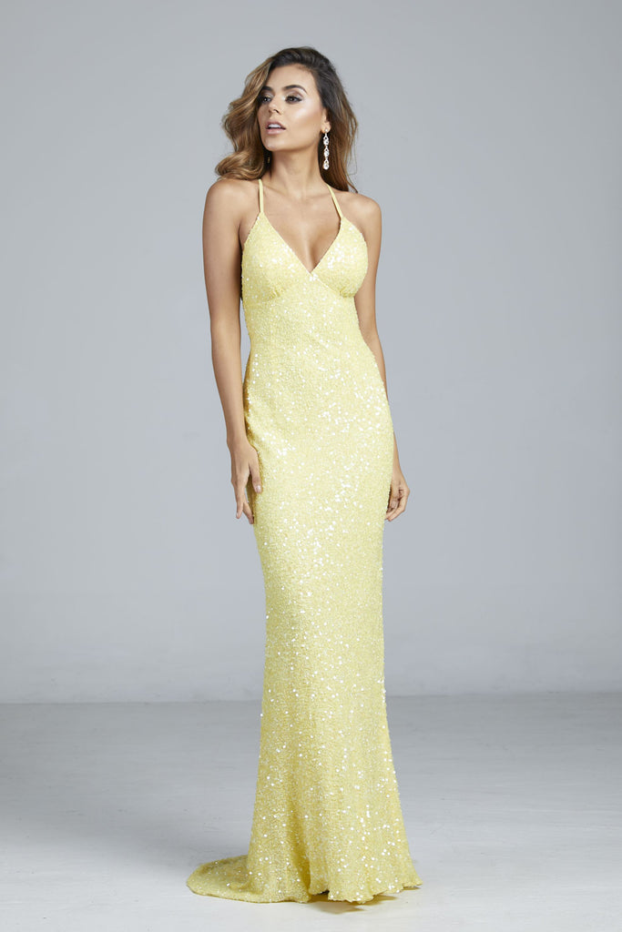 yellow sequins prom dress