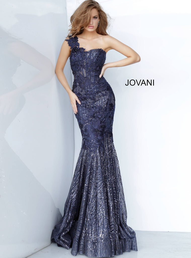 Jovani 02445 one shoulder fitted long dress