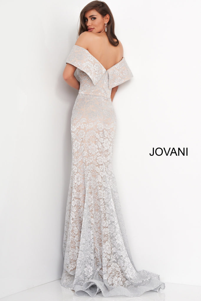 Jovani 02905 silver lace off the shoulder mothers dress