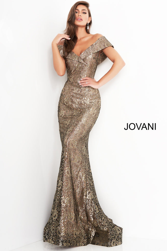 Jovani 02920 Gold lace dress off the shoulder mothers dress