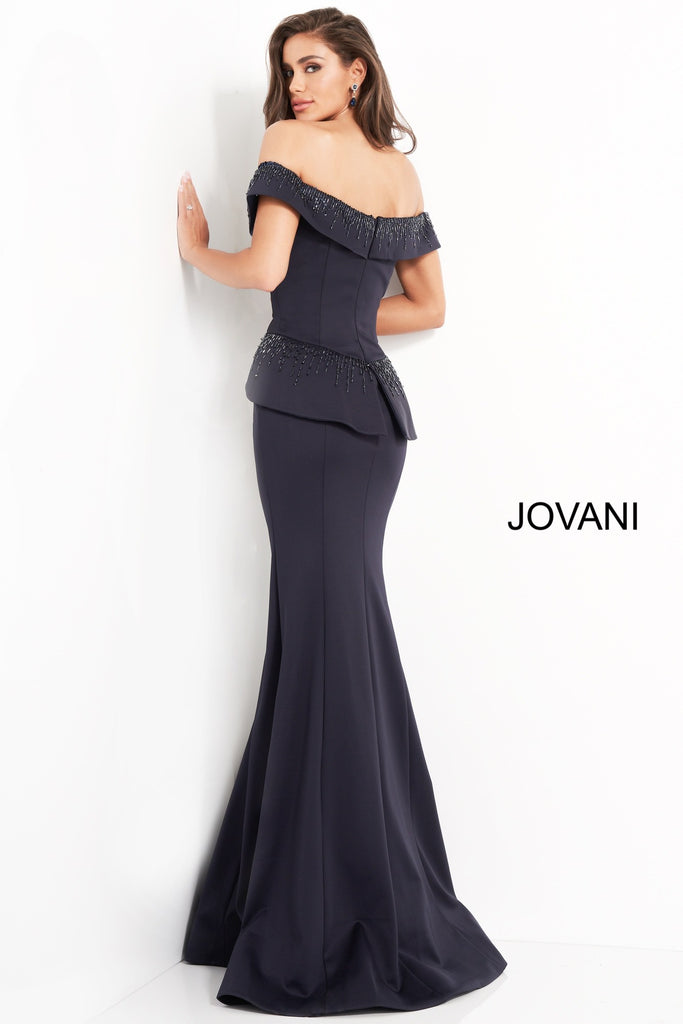 Jovani 02924 off the shoulder embelished Navy Mother of the bride dress